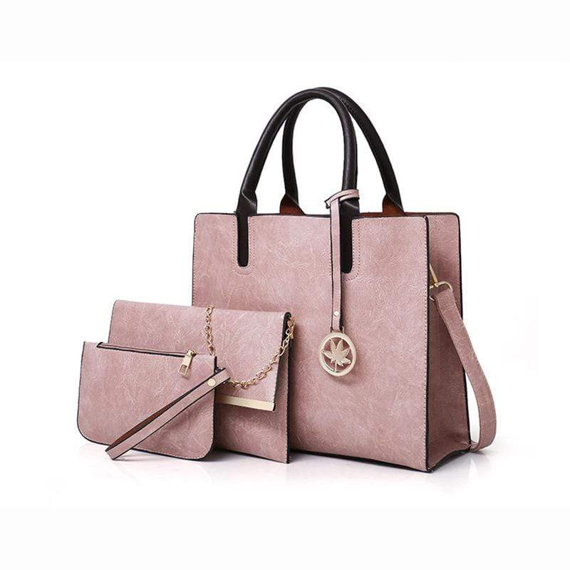 Obangbag Pink Women Chic Stylish Professional Roomy Multifunction Bag Set Purse Handbag Crossbody Bag for Work