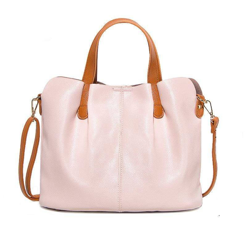 Obangbag Pink Women Chic Vintage Large Capacity Multifunction Casual Soft Leather Tote Bag Handbag