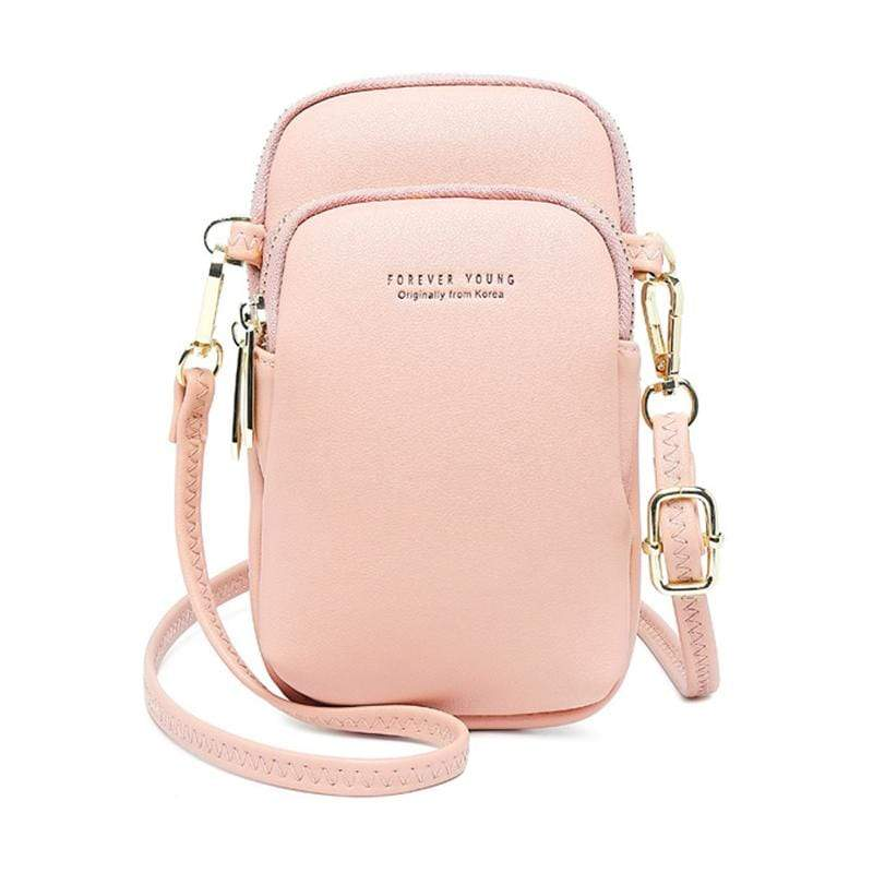 Obangbag Pink Women Cute Chic Roomy Lightweight Portable Multifunction Leather Phone Bag Crossbody Bag