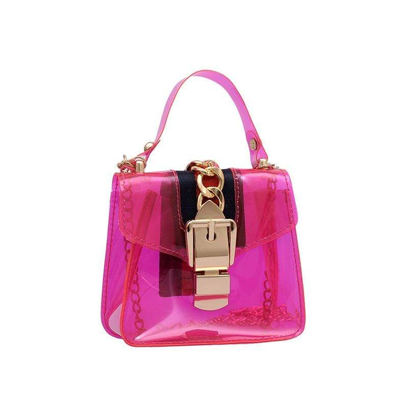 Obangbag Pink Women Cute Girl Street Mini Transparent Plastic Clear Handbag Crossbady Bag Beach Bag