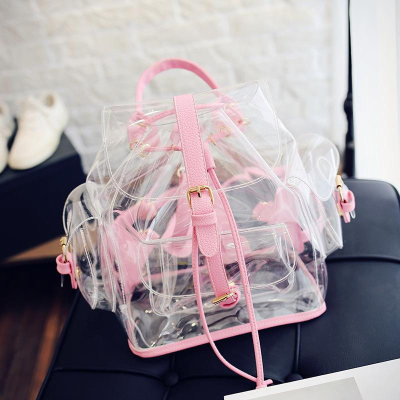 Obangbag Pink Women Cute Girl Summer See Through Clear Transparent Plastic PVC Backpack Bookbag