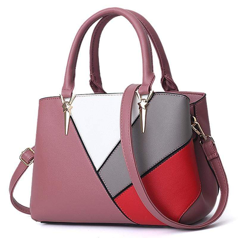 Obangbag Pink Women Cute Stylish Professional Multi Pockets PU Leather Handbag Shoulder Bag Crossbudy Bag for Work