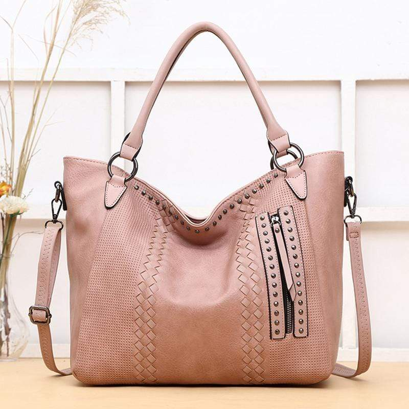 Obangbag Pink Women Elegant Vintage Big Large Capacity Rivet Professional Leather Shoulder Bag Handbag Crossbody Bag