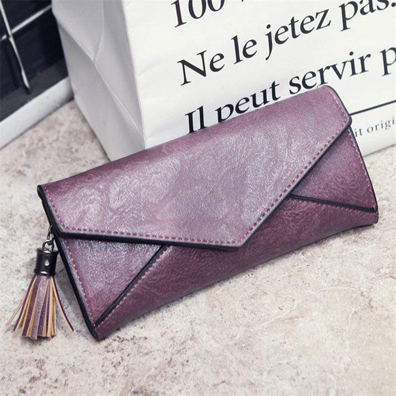 Obangbag Pink Women Elegant Vintage Fringed Foldable Lightweight Leather Long Wallet Purse Clutch