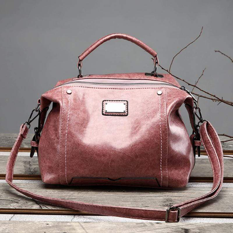 Obangbag Pink Women Fashion Vintage Large Capacity Roomy Oil Wax Leather Handbag Crossbody Bag for Work