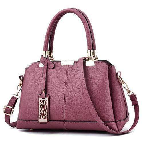 Obangbag Pink Women Fashion Work Large Capacity Leather Tote Bag Shoulder Bag