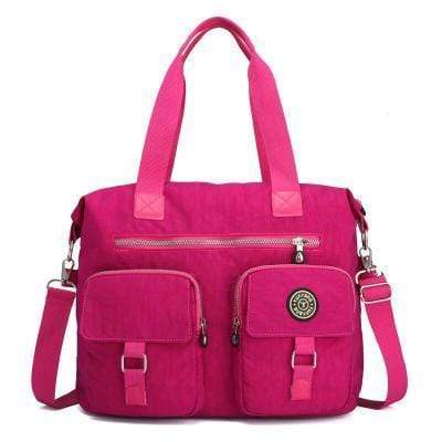 Obangbag Pink Women Large Capacity Travel Handbag Anti Splashing Water Ladies Shoulder Bag