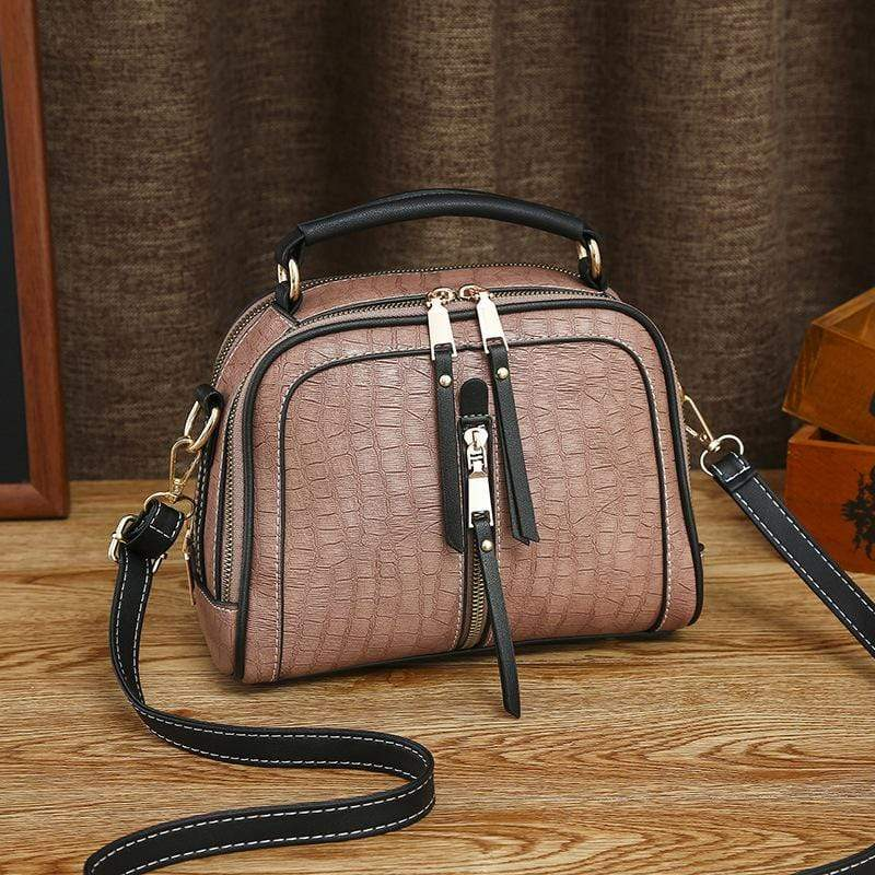 Obangbag Pink Women Mini Vintage Daily Lightweight Roomy Leather Crossbody Bag Handbag Shoulder Bag