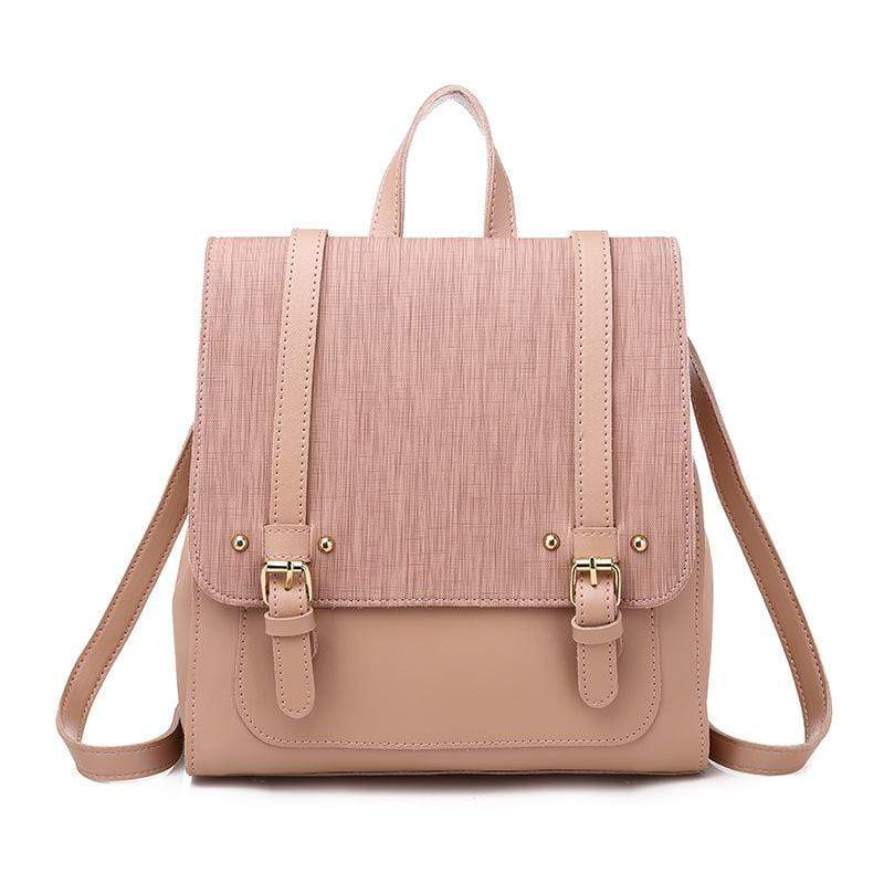 Obangbag Pink Women Retro Chic Large Capacity Multifunction Square Leather Backpack  Crossbody Bag for School