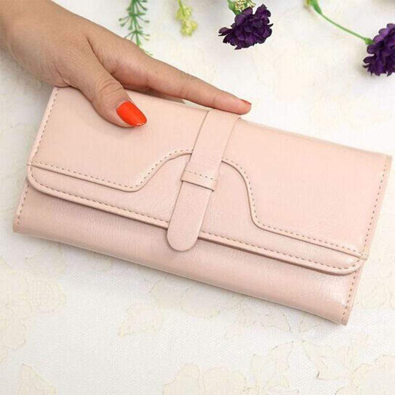 Obangbag Pink Women Retro Chic Multi Pockets Lightweight Leather Clutch Purse Long Wallet