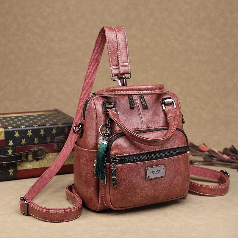 Obangbag Pink Women Retro Chic Multi Pockets Multifunction Roomy Double Zipper Oil Wax Leather Backpack Handbag