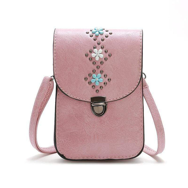 Obangbag Pink Women Retro Vintage Flower Rivet Leather Phone Bag Purse