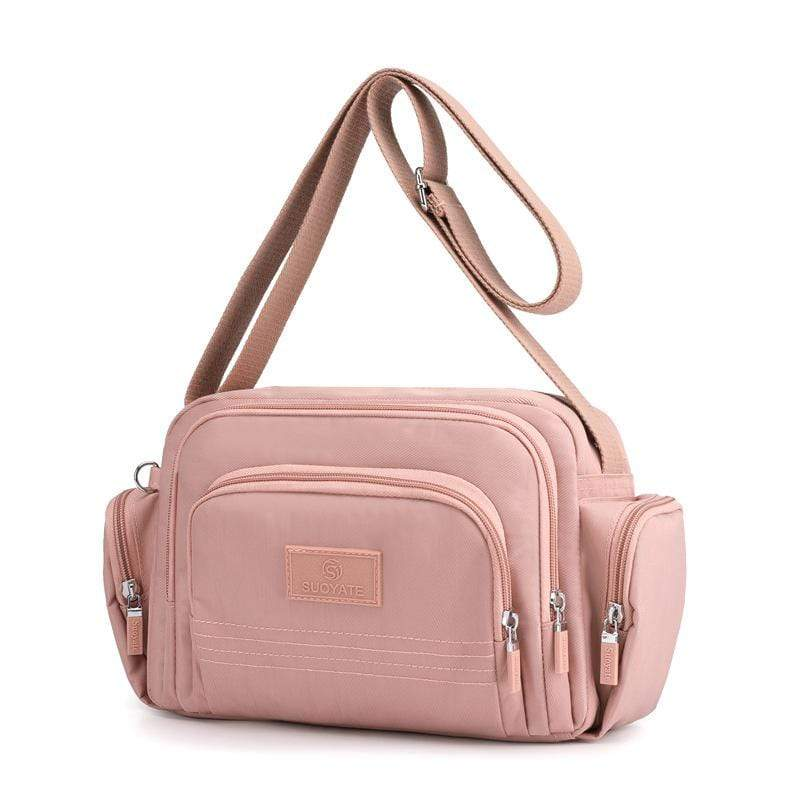 Obangbag Pink Women Simple Multi Pockets Multifunction Lightweight Waterproof Nylon Shoulder Bag Crossbody Bag