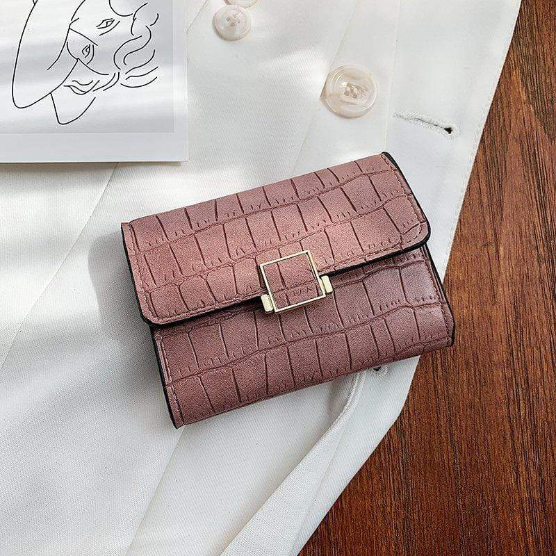 Obangbag Pink Women Stylish Chic Multi Layers Crocodile Pattern Leather Wallet Purse