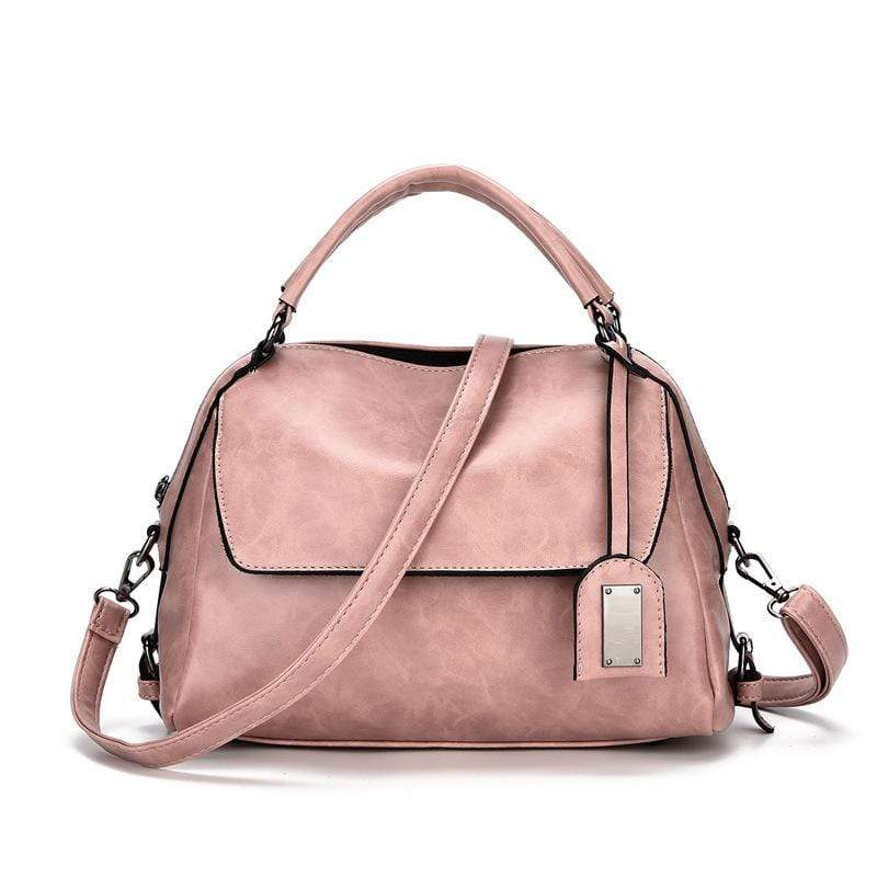 Obangbag Pink Women Vintage Chic Multi Pockets Multifunction Roomy Oil Wax Leather Boston Bag Handbag Crossbody Bag