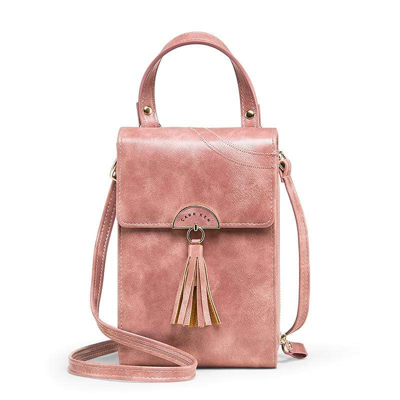 Obangbag Pink Women Vintage Cute Multi Layers Roomy Portable Leather Phone Bag Wallet Crossbody Bag