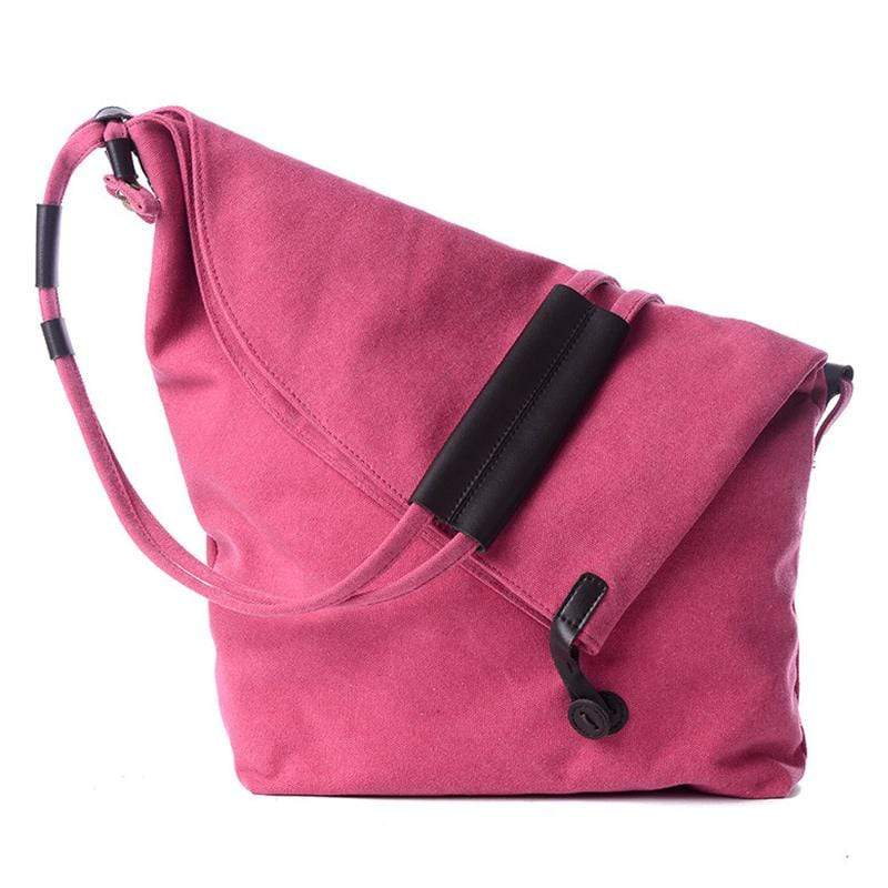 Obangbag Pink Women Vintage Fashion Simple Large Capacity Multifunction Canvas Shoulder Bag Crossbody Bag for School
