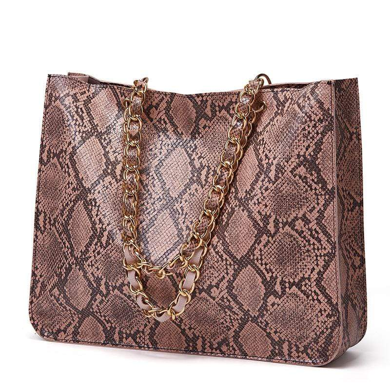 Obangbag Pink Women Vintage Large Capacity Lightweight Multifunction Snake Skin Pattern Leather Handbag Shoulder Bag Chain Bag