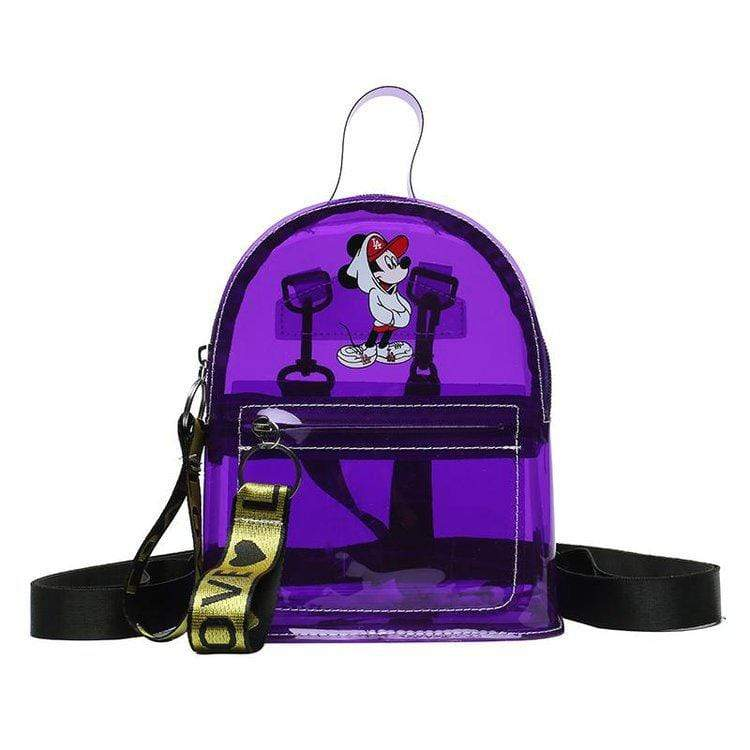 Obangbag Purple Cartoon Printed Unisex Chic Casual Cute Summer Clear Transparent Plastic Backpack for Children