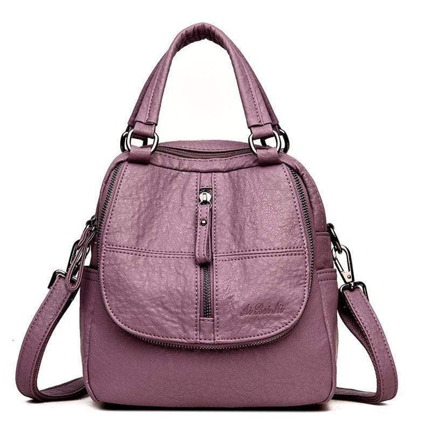 Obangbag Purple Double Layer Side Pockets Leather Backpack For Women