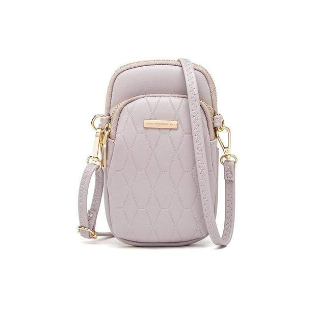 Obangbag Purple Ladies Fashion Mini Leather Crossbody Bag Phone Bag