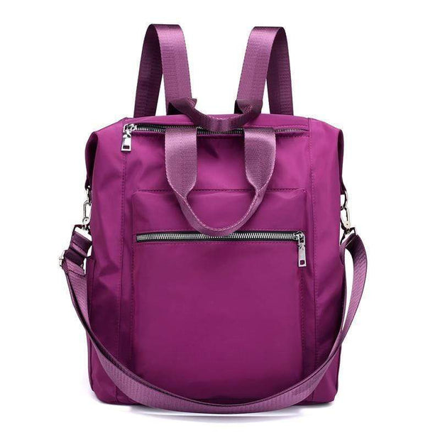 Obangbag Purple Ladies Multi Function Big Waterproof Cloth Tote Work Backpack