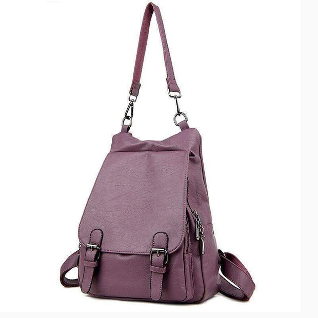 obangbag Purple Ladies Multi Pockets Large Capacity Leather Backpack Shoulder Bag