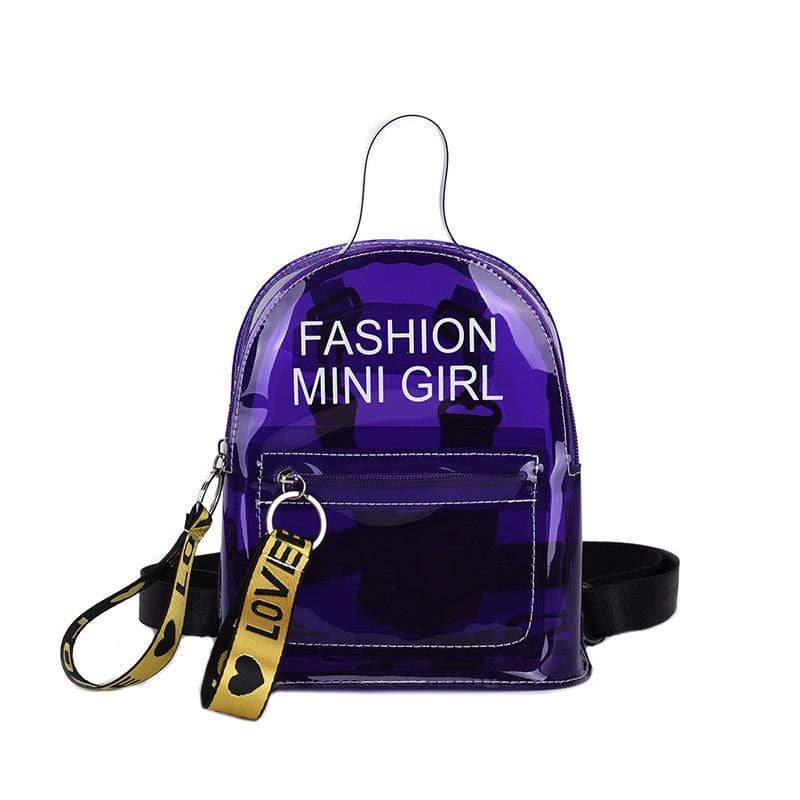 Obangbag Purple Letter Printed Unisex Chic Casual Cute Summer Clear Transparent Plastic Backpack for Children