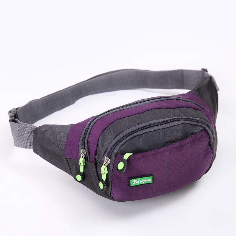 Obangbag Purple Men Large Capacity Multi Pockets Sports Multifunction Outdoors Nylon Waterproof Fanny Pack