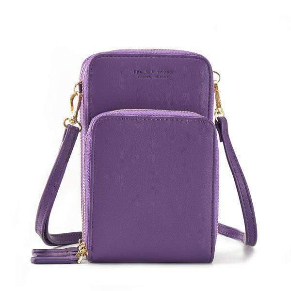 Obangbag Purple Multi-Pocket Multi Layer Mini Crossbody Phone Bag