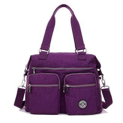 Obangbag Purple Multi Pockets Big Cloth Tote Bag Waterproof Teacher School Shoulder Bag