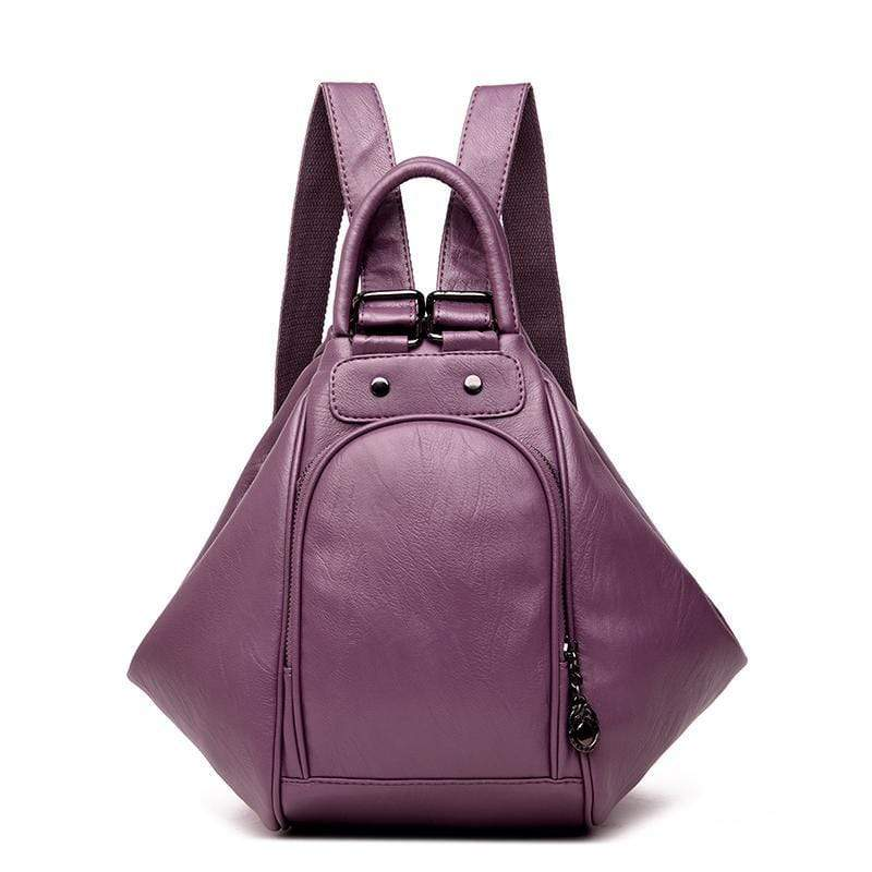Obangbag Purple Multifunction Women Leather Backpack Large Capacity Deformable Stylish Shoulder Bag