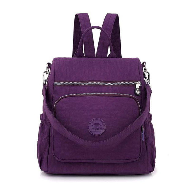 Obangbag Purple Multifunctional Ladies Shoulder Bag Wild Travel Waterproof Nylon Large Capacity Backpack