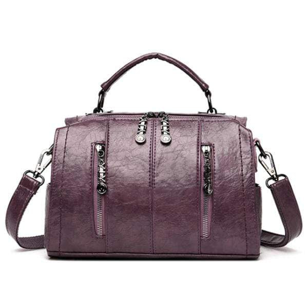 Obangbag Purple Multifunctional School Large Capacity Female Leather Tote Bag Backpack