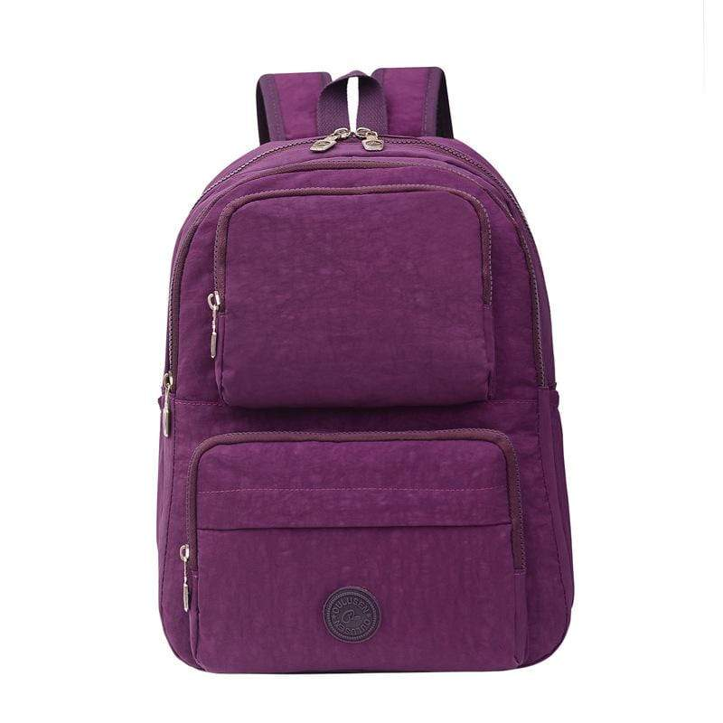 Obangbag Purple Unisex Big Casual Multi Pockets Multifunction Lightweight Nylon Backpack for Work for Travel