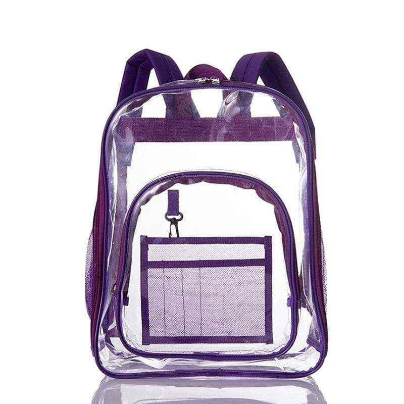 Obangbag Purple Unisex Chic Big Large Capacity See Through Clear Transparent Plastic PVC Backpack Bookbag for School
