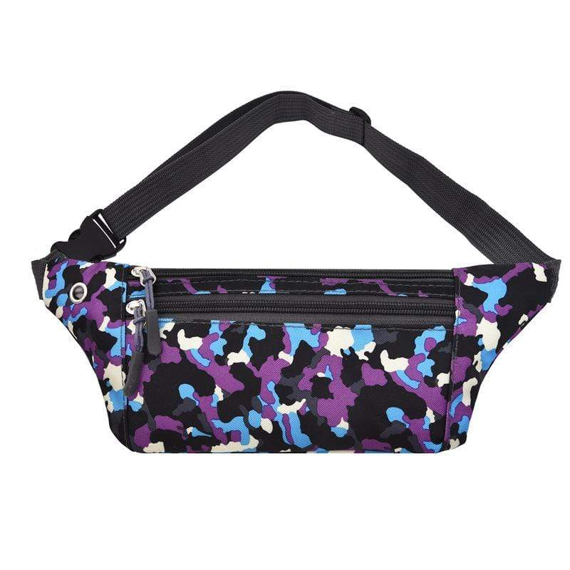 Obangbag Purple Unisex Chic Outdoor Running Anti-theft Roomy Sport Oxford Waterproof Fanny Pack Waist Bag Phone Bag