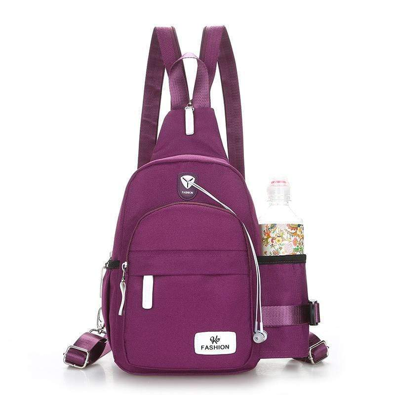 Obangbag Purple Unisex Chic Stylish Roomy Multifunction Waterproof Nylon Backpack Shoulder Bag Chest Bag for Travel