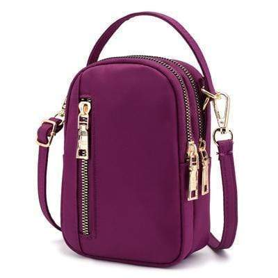Obangbag Purple Waterproof Nylon Women Phone Bags Waist Bag Crossbody Bag