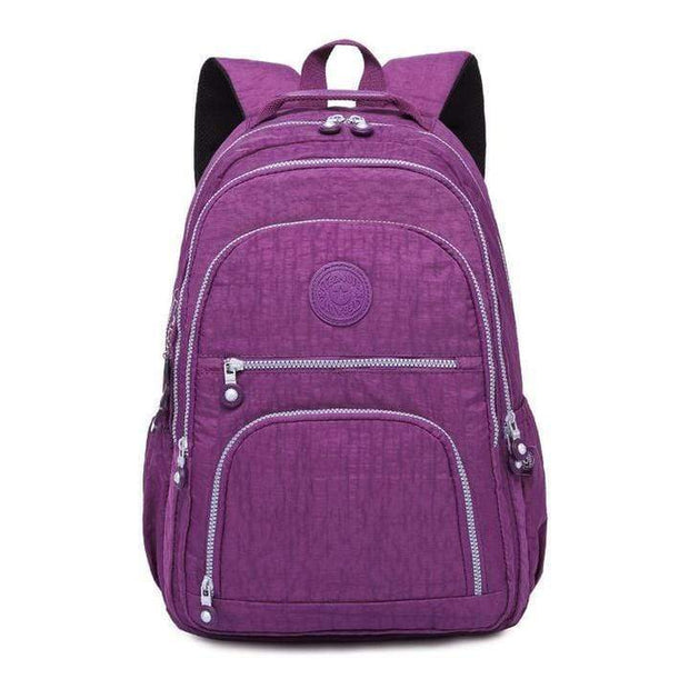 Obangbag Purple Waterproof Travel Backpack Multi Pocket Washed School Bag
