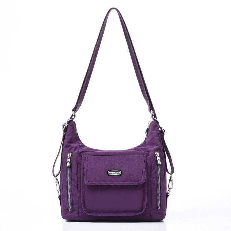 Obangbag Purple Women Casual Multifunction Large Capacity Lightweight Multi Pockets Nylon Backpack Shoulder Bag