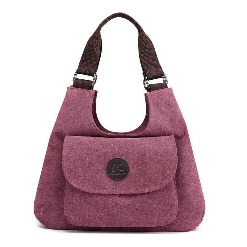 Obangbag Purple Women Casual Simple Multi Pockets Large Capacity Canvas Tote Bag Handbag Sling Bag for Work