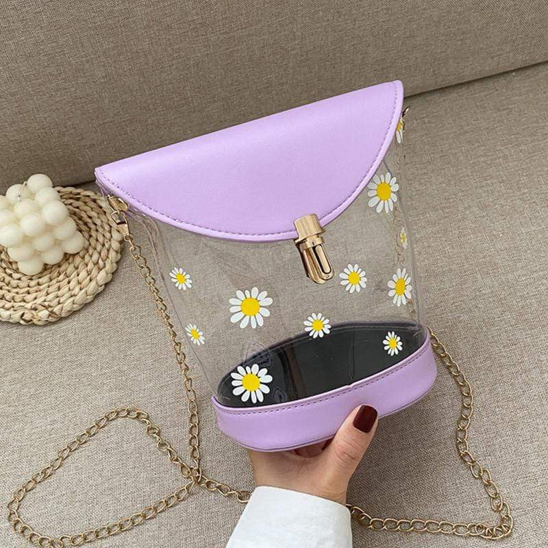 Obangbag Purple Women Chic Girl Street Transparent Clear Floral Plastic Bucket Bag Crossbody Bag