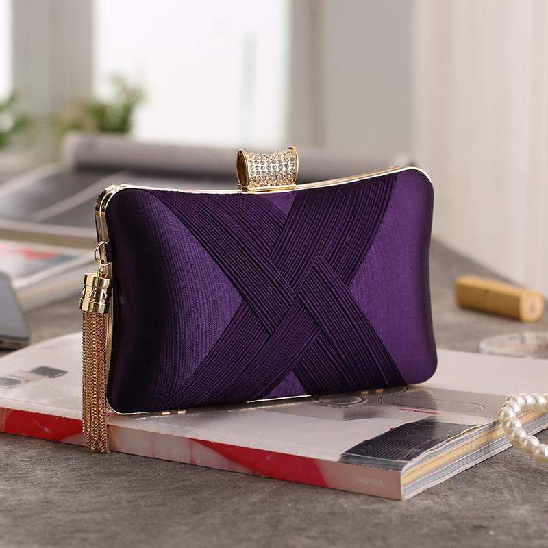 Obangbag Purple Women Chic Stylish Fringed Polyester Evening Purse Clutch Bag
