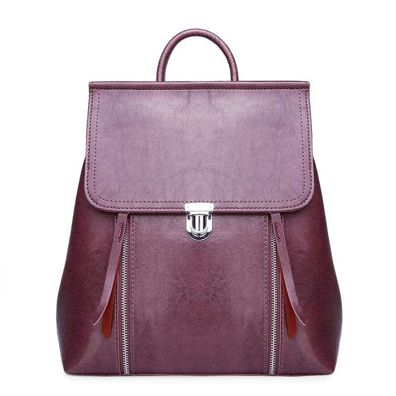 Obangbag Purple Women Chic Stylish Retro Multifunction Roomy Leather Backpack Bookbag Shoulder Bag