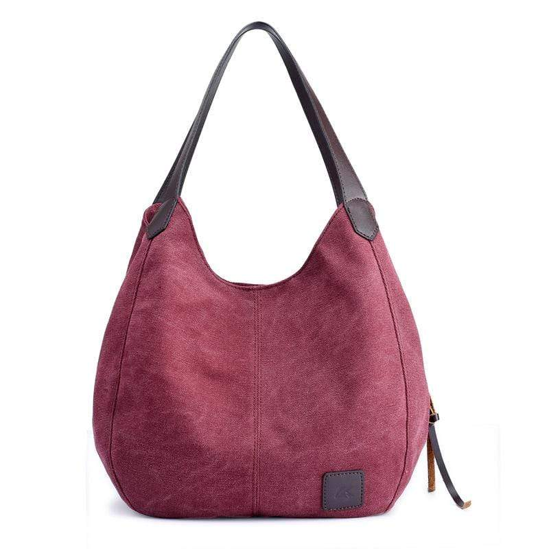 Obangbag Purple Women Chic Vintage Roomy Multi Pockets Canvas Handbag Shoulder Bag