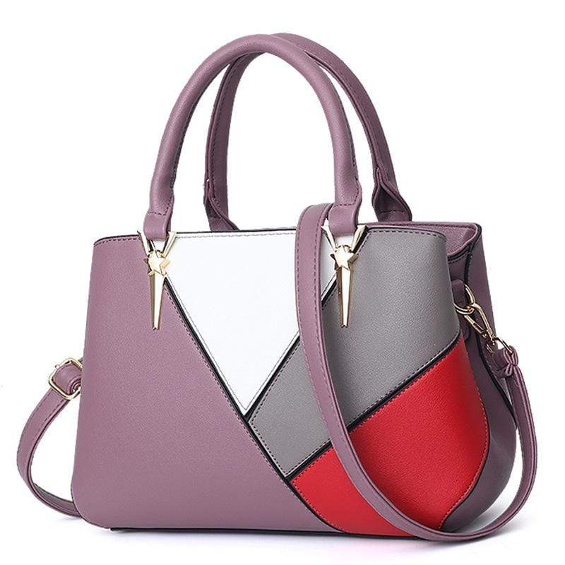 Obangbag Purple Women Cute Stylish Professional Multi Pockets PU Leather Handbag Shoulder Bag Crossbudy Bag for Work