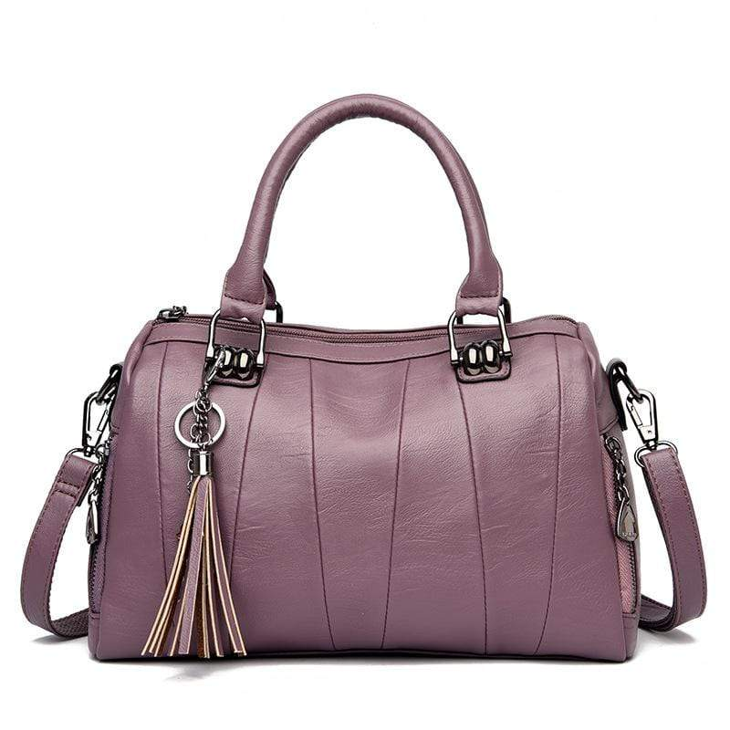 Obangbag Purple Women Elegant Simple Roomy Lightweight Leather Boston Bag Handbag Crossbody Bag