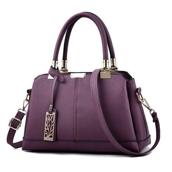Obangbag Purple Women Fashion Work Large Capacity Leather Tote Bag Shoulder Bag