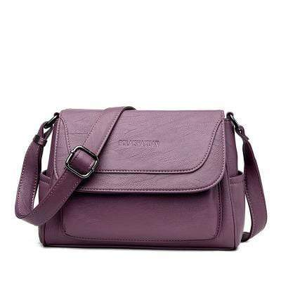 Obangbag Purple Women Genuine Leather Soft Shell Female Bag Small Bag Envelope Bag Shoulder Bag